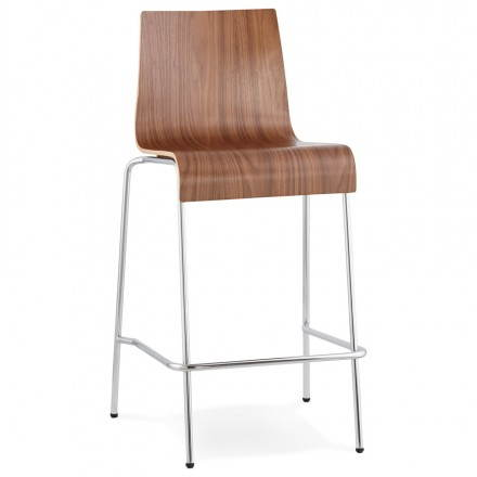 Design barstool SAÔNE MINI wooden and chromed metal (Walnut)