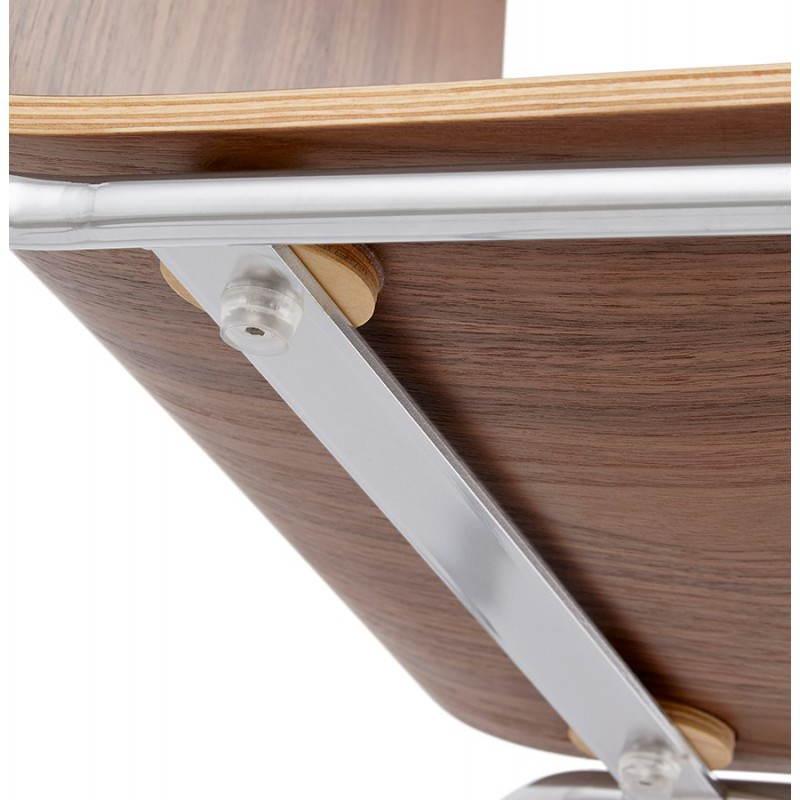 Tabouret de bar design mi-hauteur SAONE MINI en bois et métal chromé (noyer) - image 27547