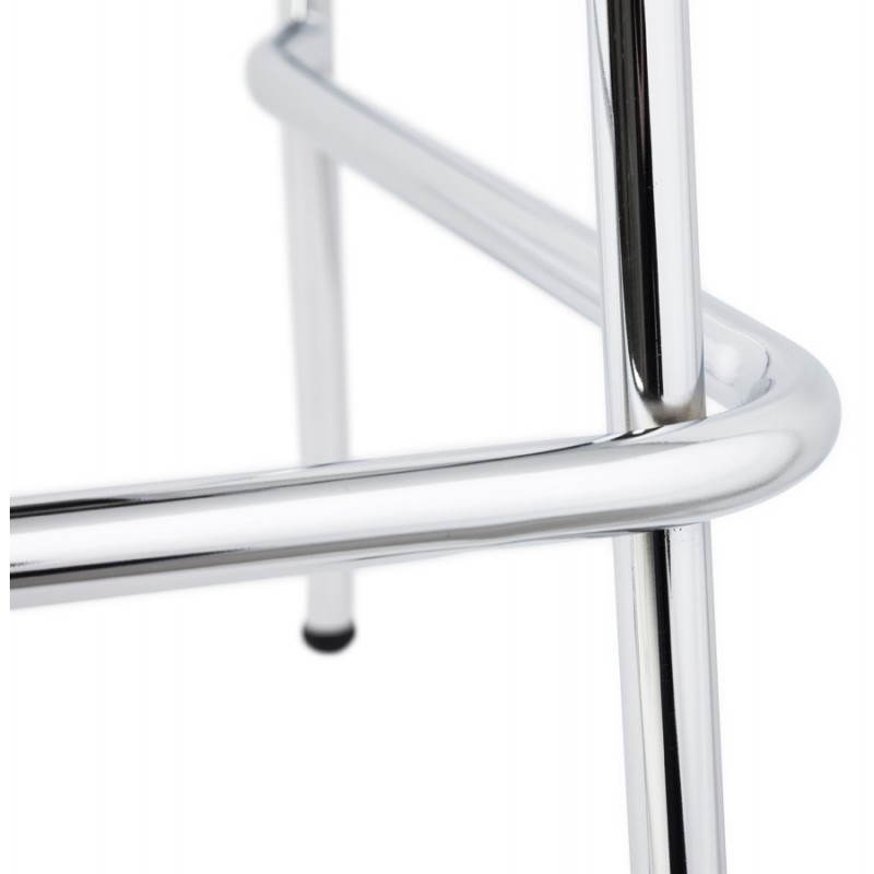 Tabouret de bar design mi-hauteur SAONE MINI en bois et métal chromé (noyer) - image 27548