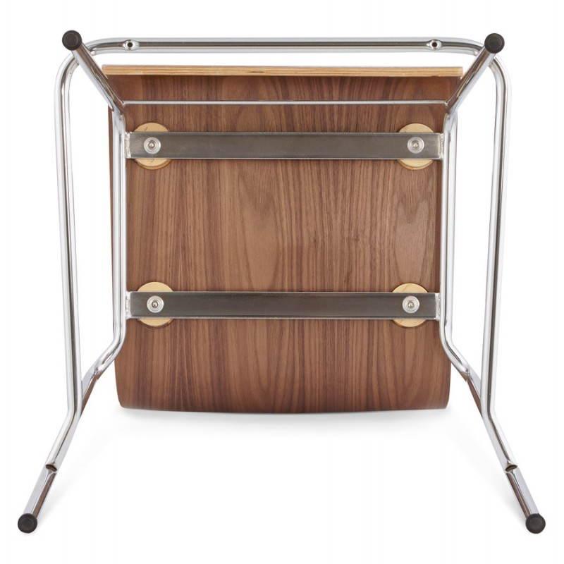 Tabouret de bar design mi-hauteur SAONE MINI en bois et métal chromé (noyer) - image 27549