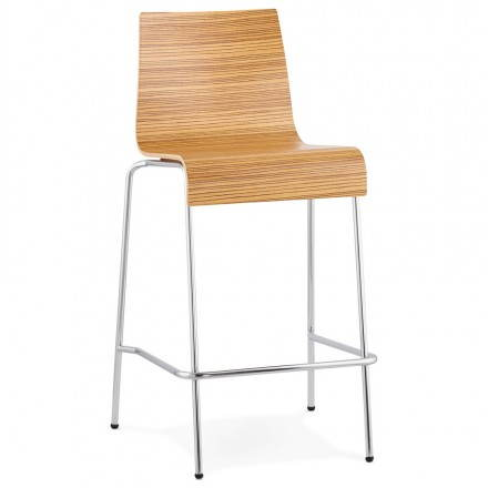 Design barstool SAÔNE MINI in timber and chrome metal (zebrano)