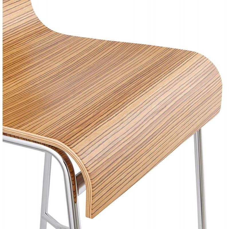 Tabouret de bar design mi-hauteur SAONE MINI en bois et métal chromé (zébrano) - image 27558