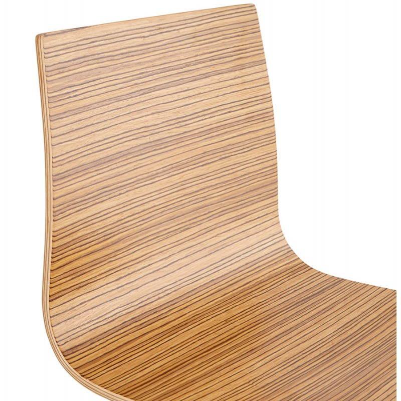 Tabouret de bar design mi-hauteur SAONE MINI en bois et métal chromé (zébrano) - image 27559