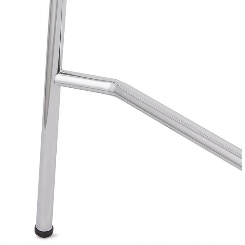 Tabouret de bar design mi-hauteur SAONE MINI en bois et métal chromé (zébrano) - image 27561
