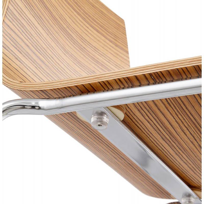 Taburete de bar SAONA MINI en madera y metal cromado (zebrano) de diseño