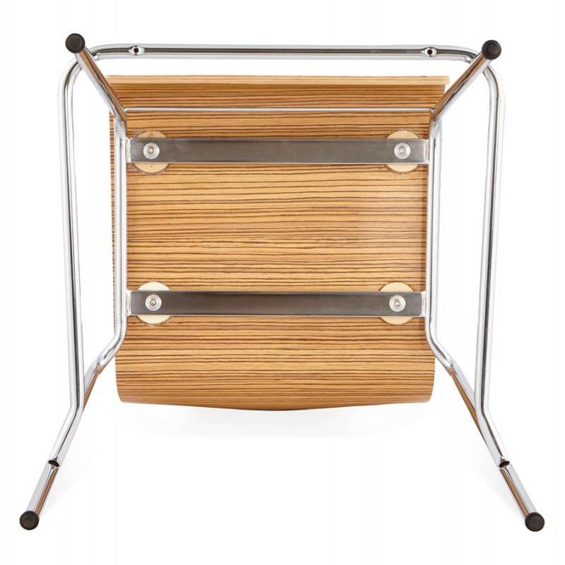Tabouret de bar design mi-hauteur SAONE MINI en bois et métal chromé (zébrano) - image 27564