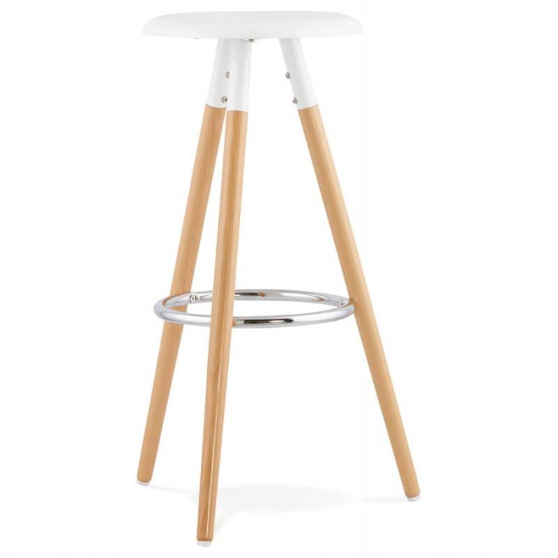 Tabouret bois de bar design scandinave 3 pieds PIERROT (blanc, naturel) - image 27570