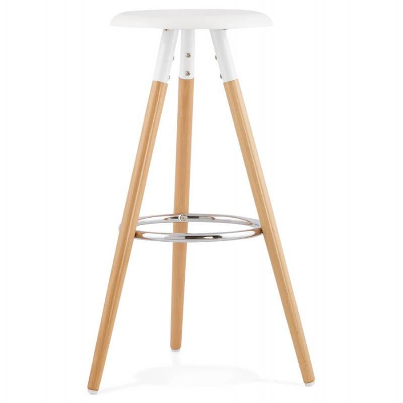 Tabouret bois de bar design scandinave 3 pieds PIERROT (blanc, naturel) - image 27571