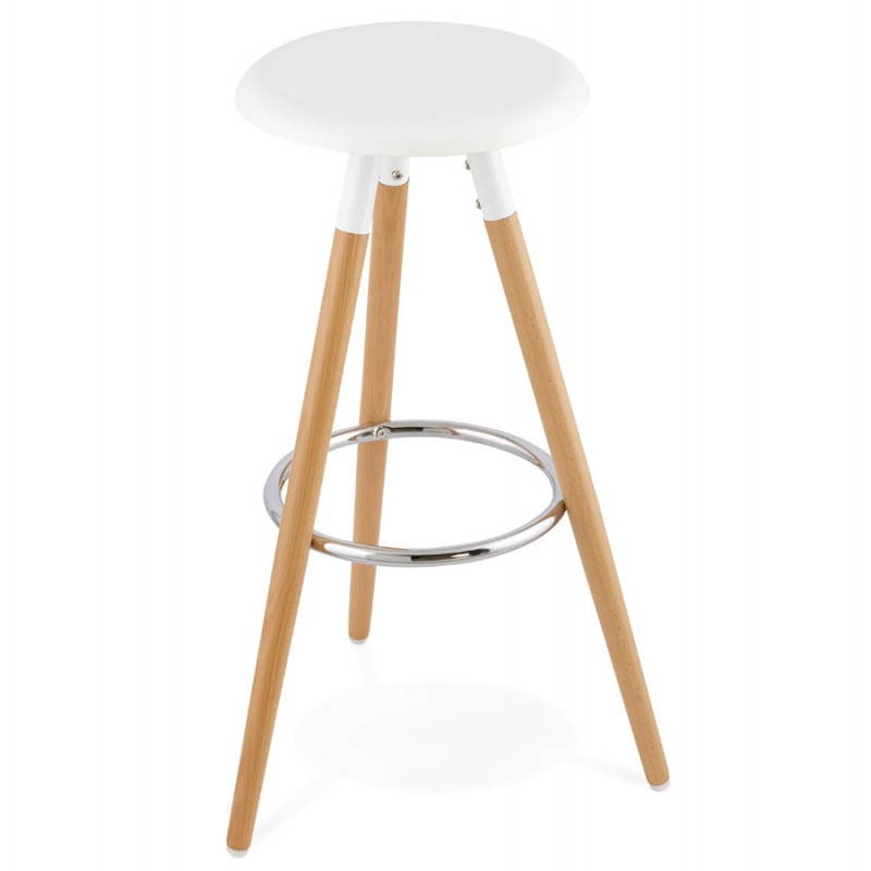tabouret bois de bar design scandinave 3 pieds pierrot blanc naturel. Black Bedroom Furniture Sets. Home Design Ideas