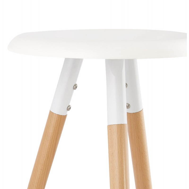 Tabouret bois de bar design scandinave 3 pieds PIERROT (blanc, naturel) - image 27574