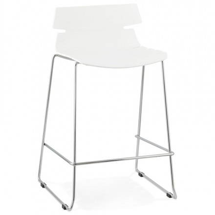 Bar design mid-height BRIO (white) polypropylene stool