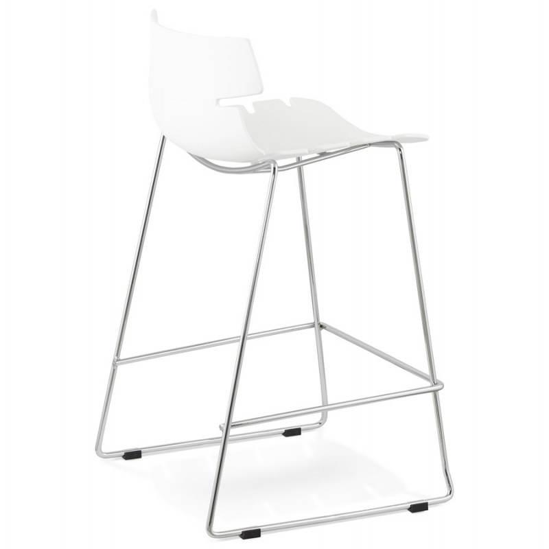 Tabouret de bar mi-hauteur design BRIO en polypropylène (blanc) - image 27583
