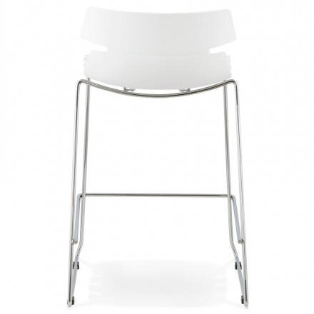tabouret de bar mi hauteur design brio en polypropyl ne blanc. Black Bedroom Furniture Sets. Home Design Ideas