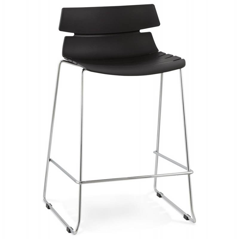 tabouret de bar mi hauteur design brio en polypropyl ne noir. Black Bedroom Furniture Sets. Home Design Ideas