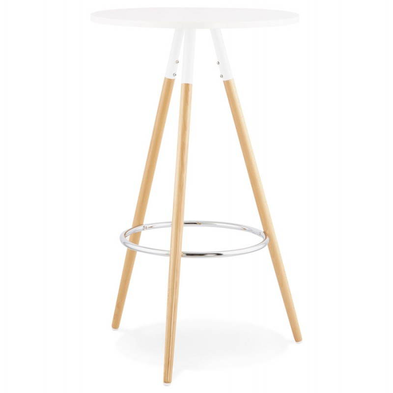 Table haute ronde scandinave JULIE en bois (Ø 65 cm) (blanc, naturel) - image 27609