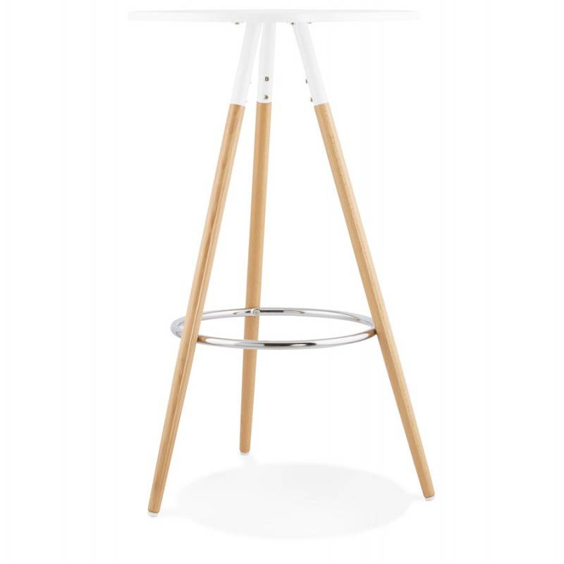 Table haute ronde scandinave JULIE en bois (Ø 65 cm) (blanc, naturel) - image 27612