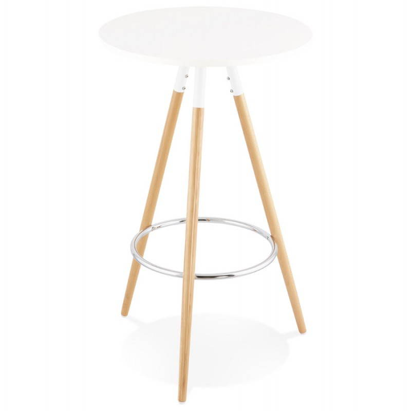 table haute ronde scandinave julie en bois 65 cm blanc naturel. Black Bedroom Furniture Sets. Home Design Ideas