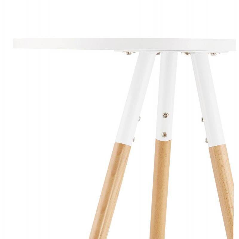 Table haute ronde scandinave JULIE en bois (Ø 65 cm) (blanc, naturel) - image 27615