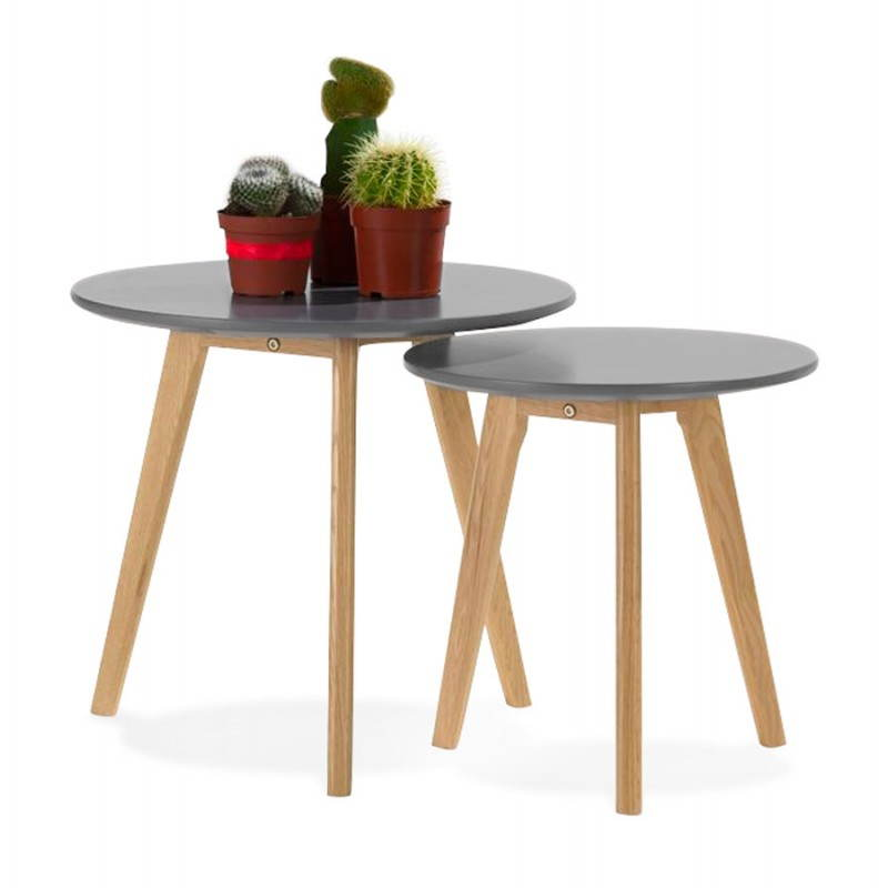 tables basses design gigognes art en bois et ch ne massif gris fonc. Black Bedroom Furniture Sets. Home Design Ideas
