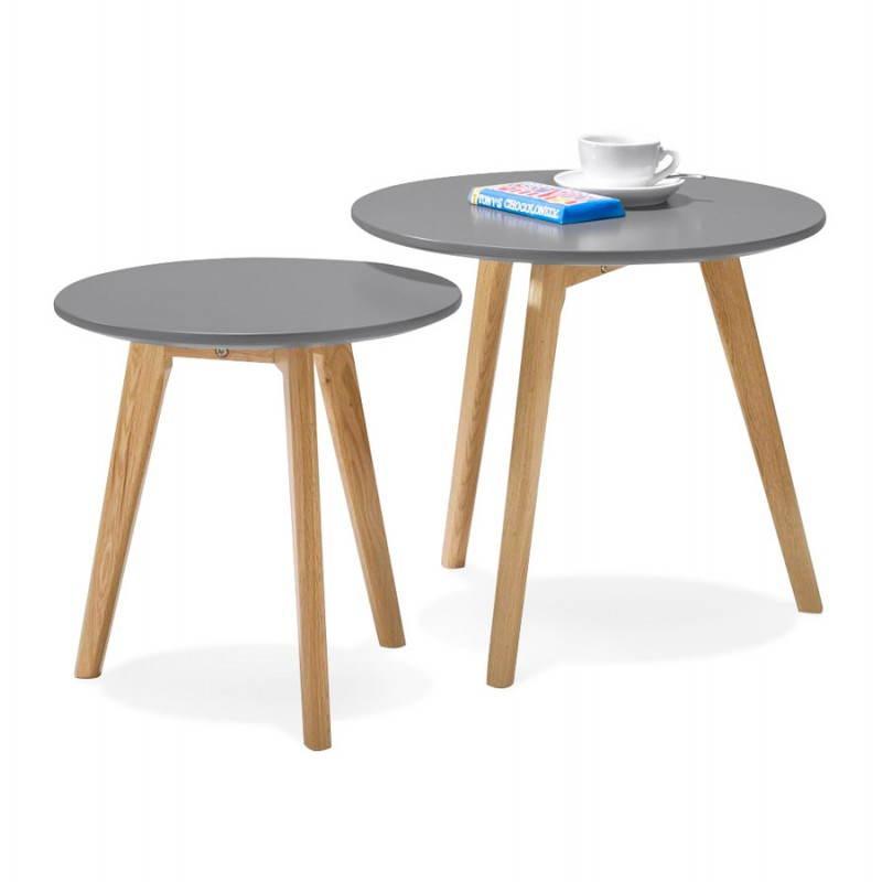 Tables basses design gigognes ART en bois et chêne massif (gris foncé) - image 27792