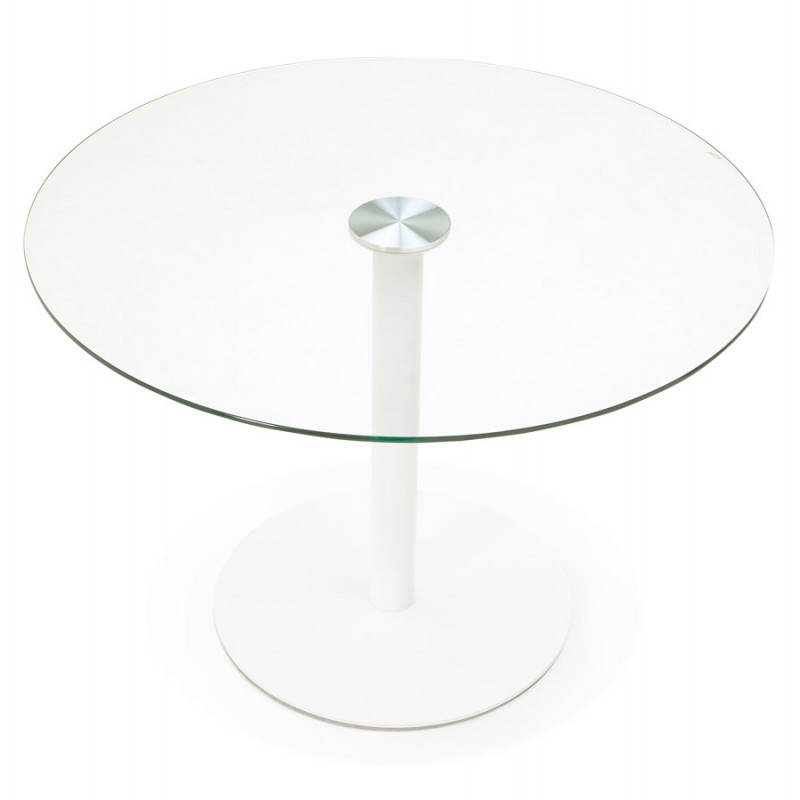 Table manger ronde design elsa en verre et m tal 110 for Table salle a manger en verre design ronde