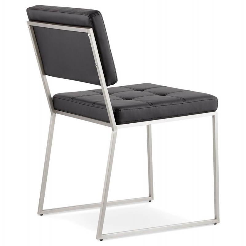 chaise design capitonn e et rembourr e bouton noir. Black Bedroom Furniture Sets. Home Design Ideas
