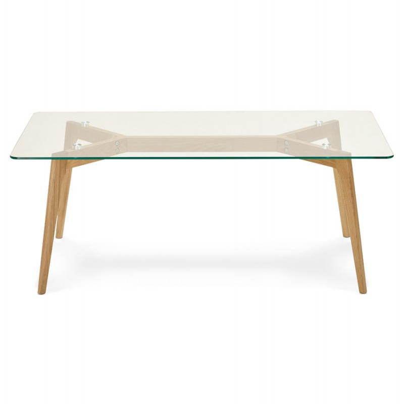 Rectangular coffee table style Scandinavian HENNA in glass and oak (transparent) - image 27872