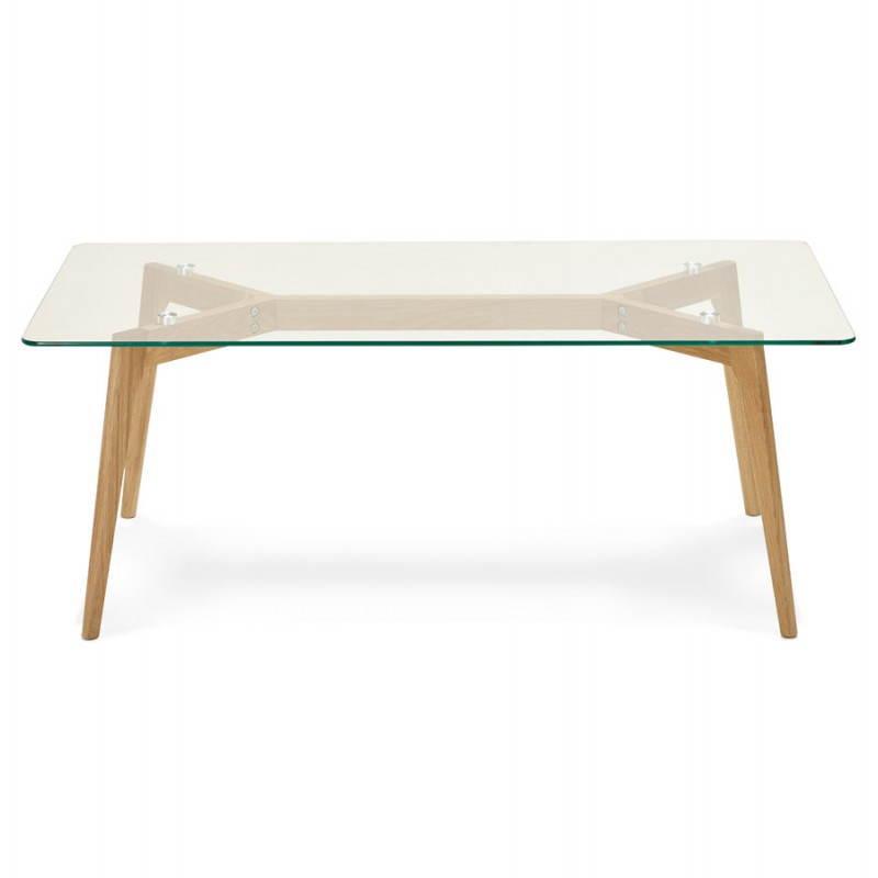 Table basse rectangulaire style scandinave HENNA en verre et chêne (transparent) - image 27872