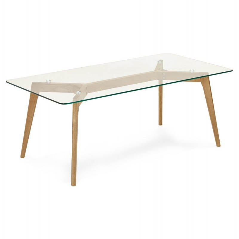 Table basse contemporaine rectangulaire bois et verre for Tables basses contemporaines