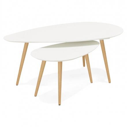 Coffee tables design oval nesting GOLDA in wood and oak (white)
