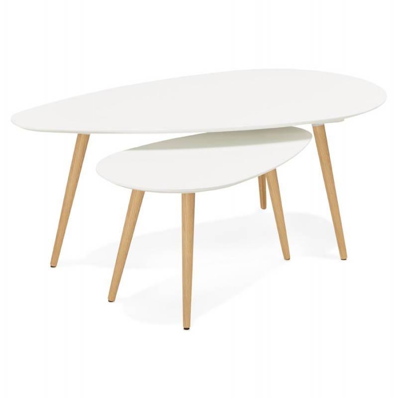 Tables basses design ovales gigognes GOLDA en bois et chêne massif (blanc) - image 27895