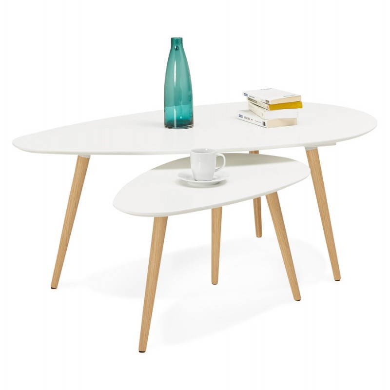 Tables basses design ovales gigognes GOLDA en bois et chêne massif (blanc) - image 27906