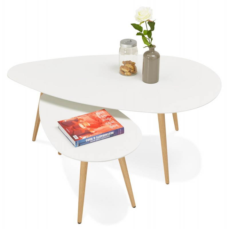 Tables basses design ovales gigognes golda en bois et ch ne massif blanc - Tables basses ovales ...