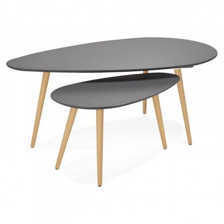 Tables basses design ovales gigognes GOLDA en bois et chêne massif (gris foncé)