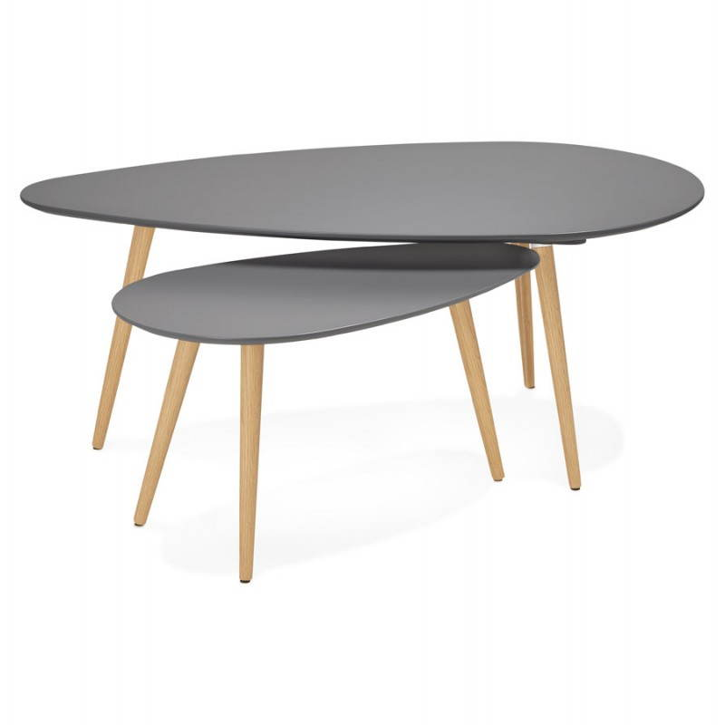 Coffee Tables Design Oval Nesting Golda In Wood And Oak Dark Gray