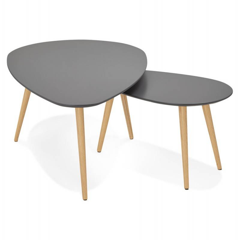 Tables basses design ovales gigognes golda en bois et for Table scandinave 6 personnes
