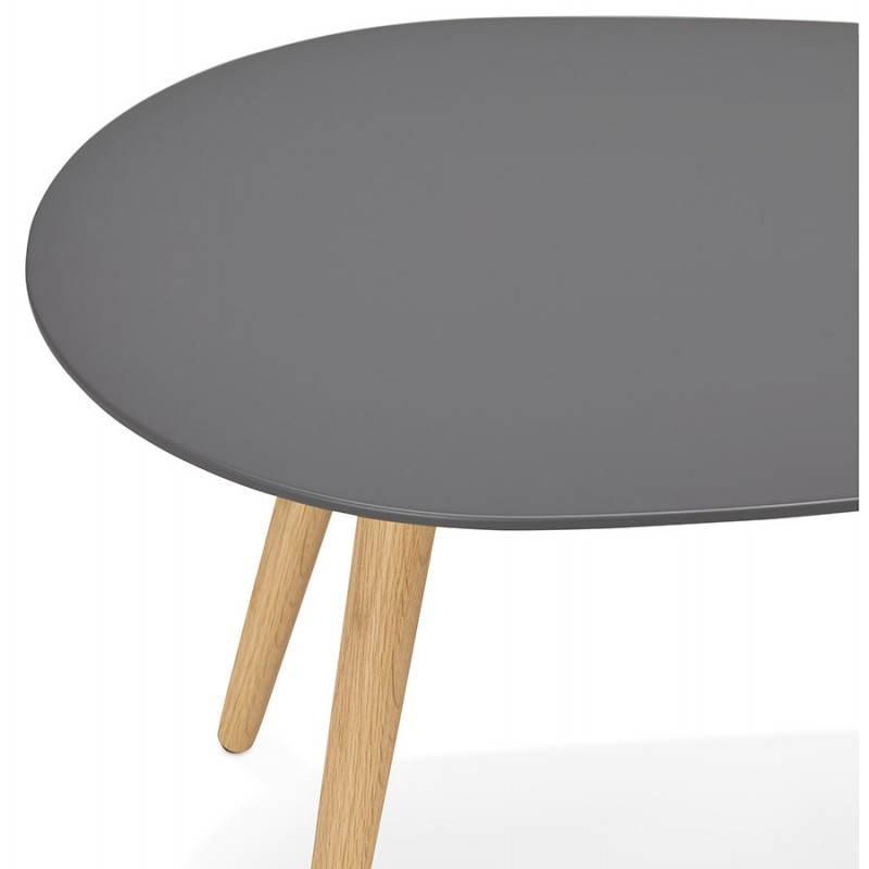 Tables basses design ovales gigognes GOLDA en bois et chêne massif (gris foncé) - image 27915