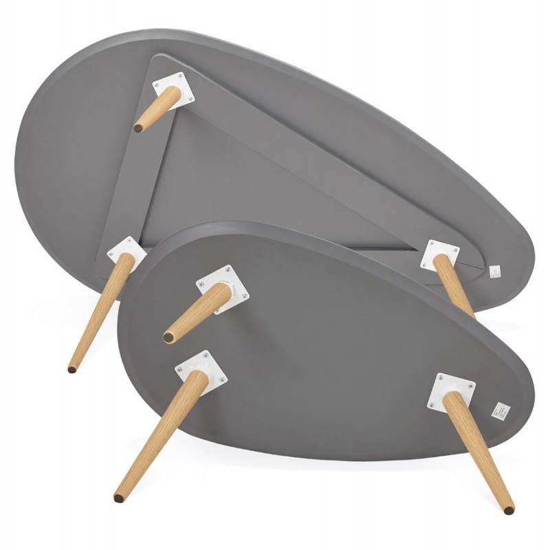 Tables basses design ovales gigognes GOLDA en bois et chêne massif (gris foncé) - image 27919