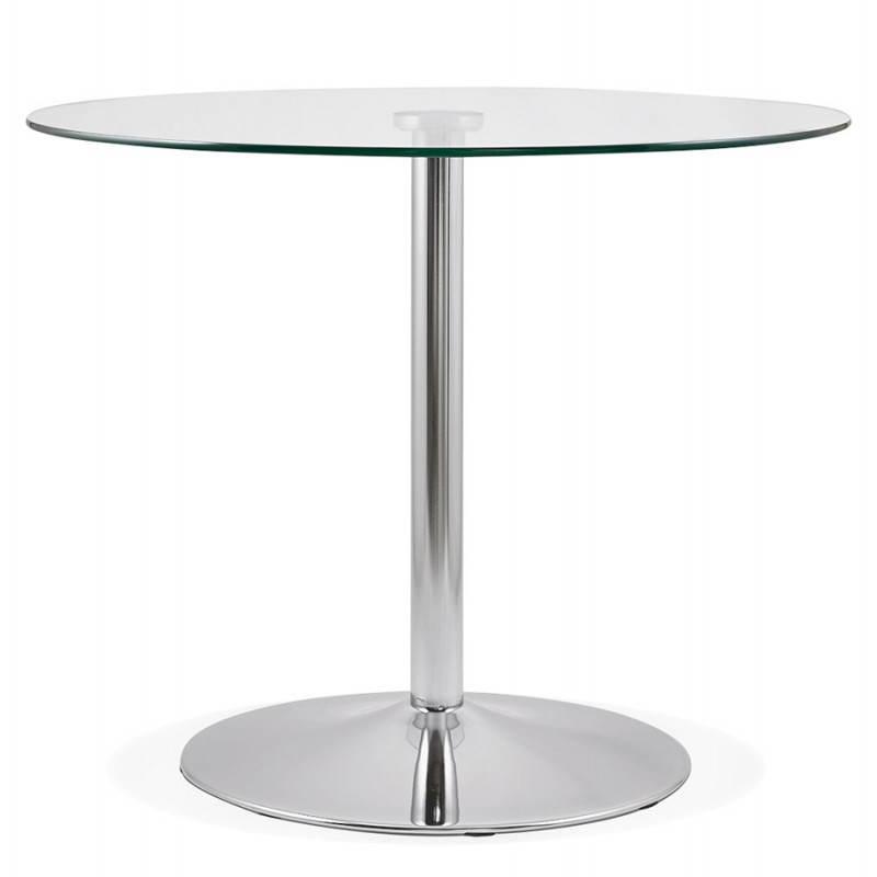 Diseño redondo OLAV comedor en vidrio y cromado (Ø 90 cm) tabla del metal (transparente) - image 27937