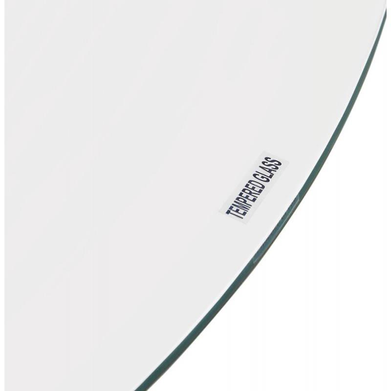 Diseño redondo OLAV comedor en vidrio y cromado (Ø 90 cm) tabla del metal (transparente) - image 27939