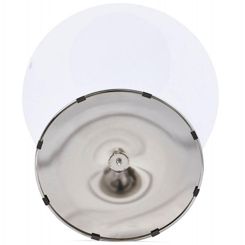 Diseño redondo OLAV comedor en vidrio y cromado (Ø 90 cm) tabla del metal (transparente) - image 27945