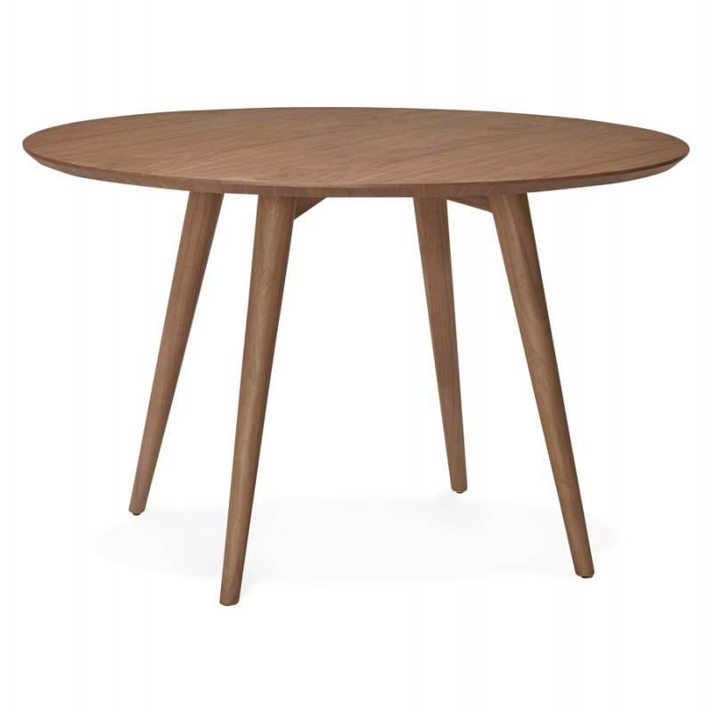 Table de repas ronde vintage style scandinave SOFIA en bois (Ø 120 cm) (finition noyer) - image 27947