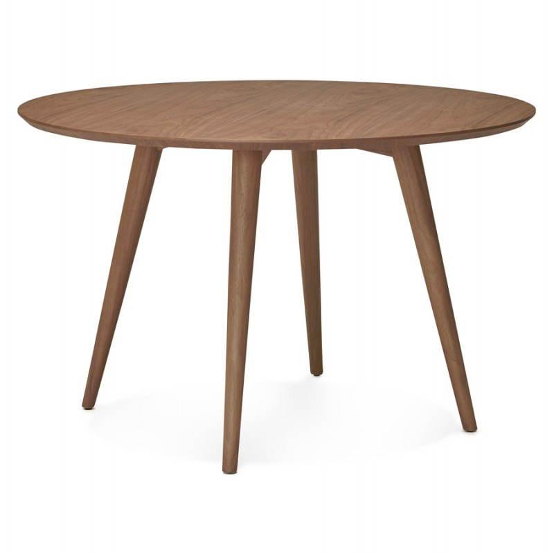 Table de repas ronde vintage style scandinave SOFIA en bois (Ø 120 cm) (finition noyer) - image 27949