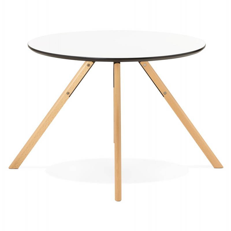 table de repas ronde scandinave biba en bois et h tre 100 cm blanc. Black Bedroom Furniture Sets. Home Design Ideas