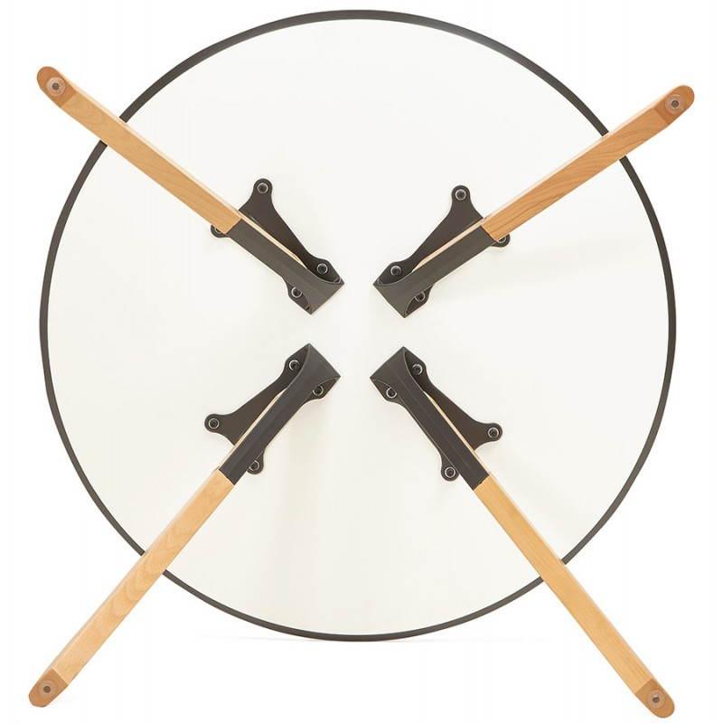 table de repas ronde scandinave biba en bois et h tre 100 cm blanc. Black Bedroom Furniture Sets. Home Design Ideas