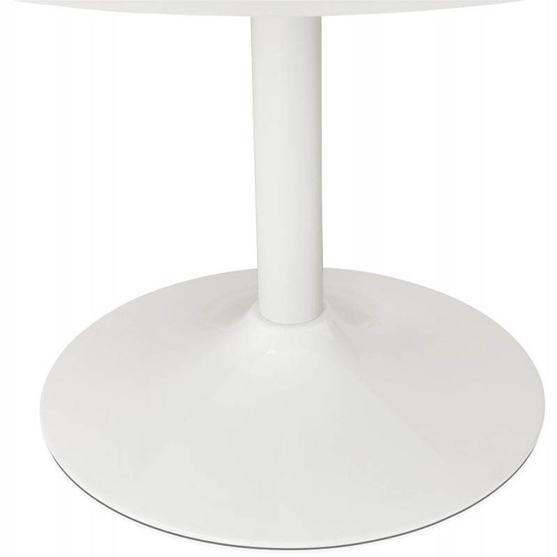 Dining table round design Scandinavian STRIPE in wood and painted metal (Ø 120 cm) (white) - image 27980