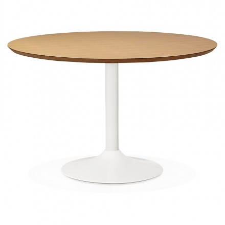 Dining table round design Scandinavian STRIPE in wood and painted metal (Ø 120 cm) (natural, white)