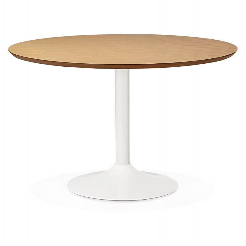 Dining table round design Scandinavian STRIPE in wood and painted metal (Ø 120 cm) (natural, white) - image 27984