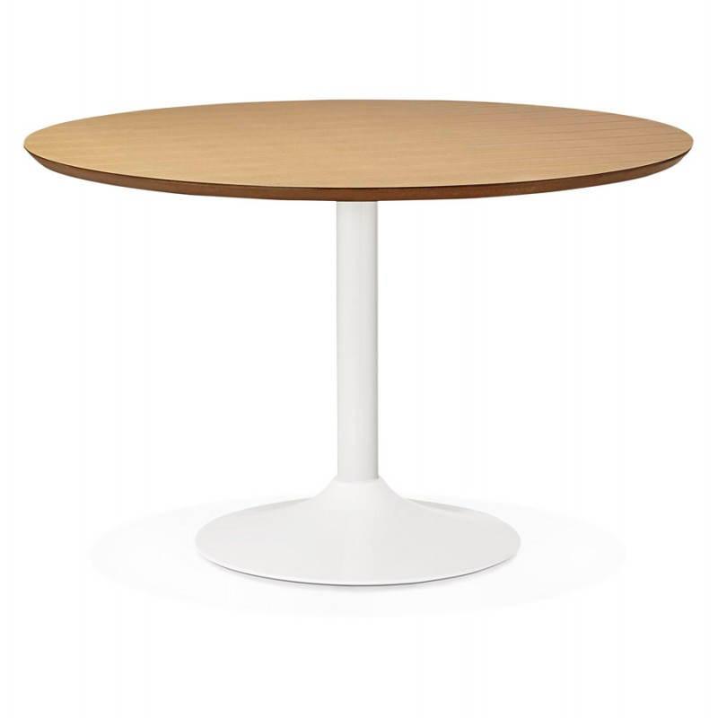 Table de repas ronde design scandinave GALON en bois et métal peint (Ø 120 cm) (naturel, blanc) - image 27984