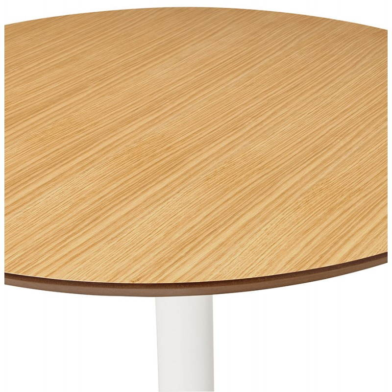 Dining table round design Scandinavian STRIPE in wood and painted metal (Ø 120 cm) (natural, white) - image 27988